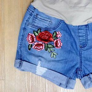 Bella Vida Embriodered Maternity Jean Shorts